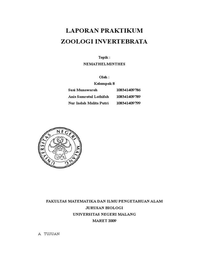Department of Evolutionary Zoology and Human Biology, Zoologi invertebrata nemathelminthes